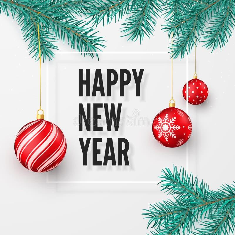 Grußkarte des guten Rutsch ins Neue Jahr und der frohen Weihnachten Tannenzweig und rote Weihnachtsbälle Grußtext des Feiertags a lizenzfreie abbildung