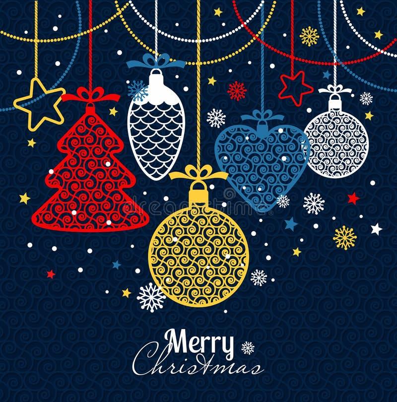 Grußkarte des neuen Jahres frohe Weihnachten lizenzfreie abbildung