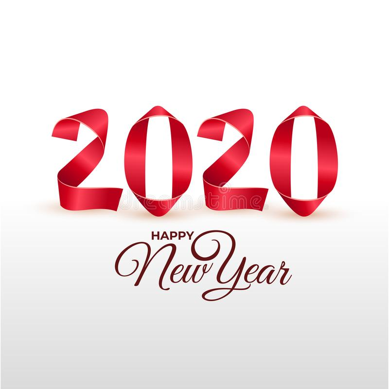Grußkarte 2020 des neuen Jahres Handgemachte rote gemalte Streifen verbogen in Zahlformen Auch im corel abgehobenen Betrag Lokali lizenzfreie abbildung