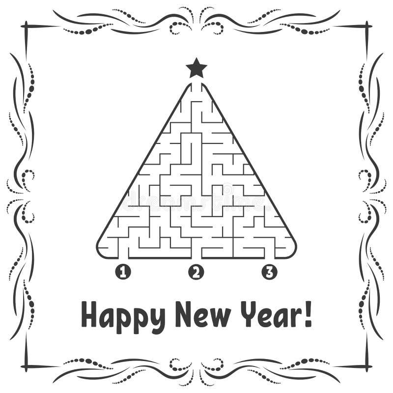 Grußkarte des neuen Jahres mit einem dreieckigen Labyrinth Finden Sie den rechten Weg zum Stern Spiel für Kinder Vektorversion in lizenzfreie abbildung