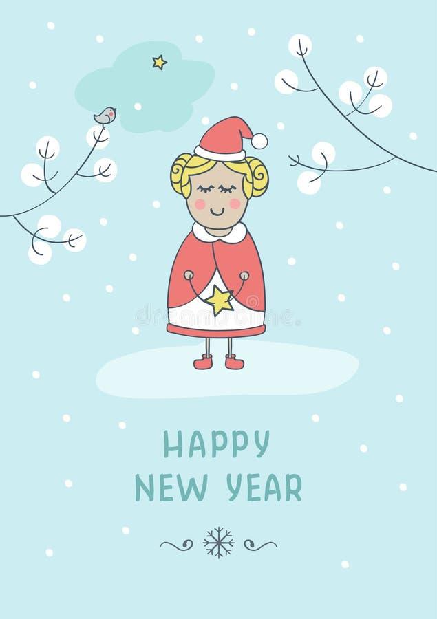 Grußkarte des neuen Jahres mit nettem Mädchen lizenzfreie stockfotos