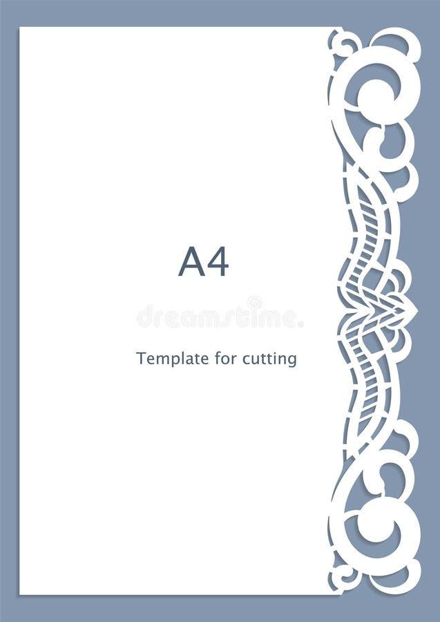 Grußkarte des Spitzenpapiers A4, Hochzeitseinladung, Ausschnittschablone, Schablonenglückwunsch, Perforierungsmuster, Laser-Aussc stock abbildung
