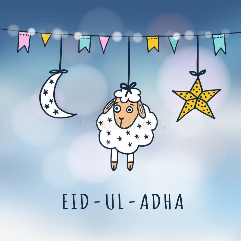 Grußkarte Eid-ULs-adha Mubarak mit Schafen, Mond, Stern und Flaggen Moslemisches Gemeinschaftsfestival des Opfers vektor abbildung