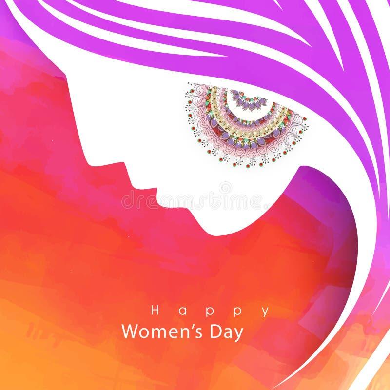 Grußkarte für Feier der Frauen Tages lizenzfreie abbildung
