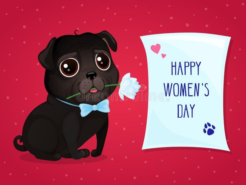 Grußkarte für Frauen ` s Tag mit einem netten schwarzen Pug stockfotos