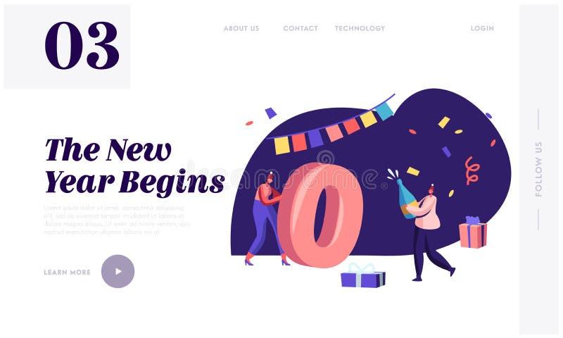 2020 Grußkarte für glückliche Neujahrsfeier Webseite Landing Page Tiny Woman Rolling Huge Zero Nummer vektor abbildung