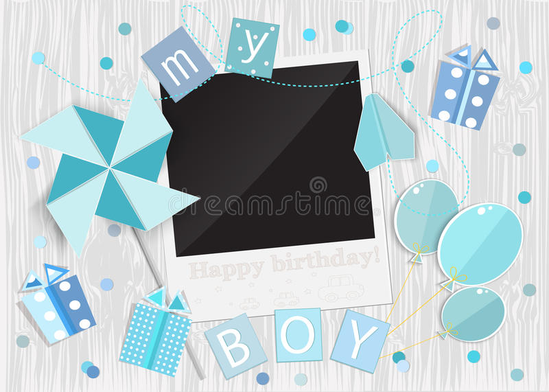 Grußkarte für Jungen im hölzernen Hintergrund Vektor eps10 lizenzfreie abbildung