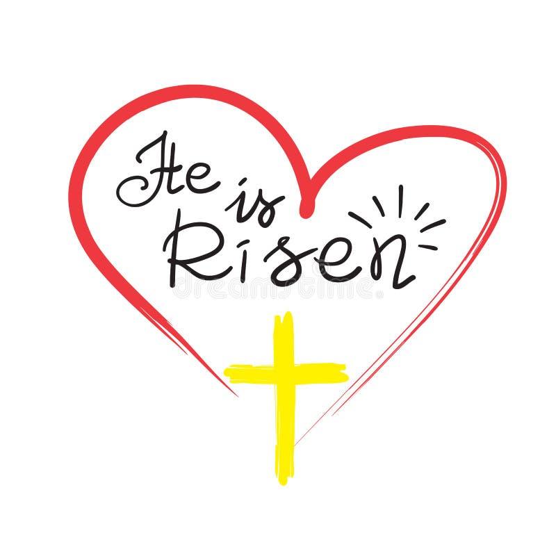 Grußkarte für Ostern Er wird - Motivzitatbeschriftung, religiöses Plakat gestiegen lizenzfreie abbildung