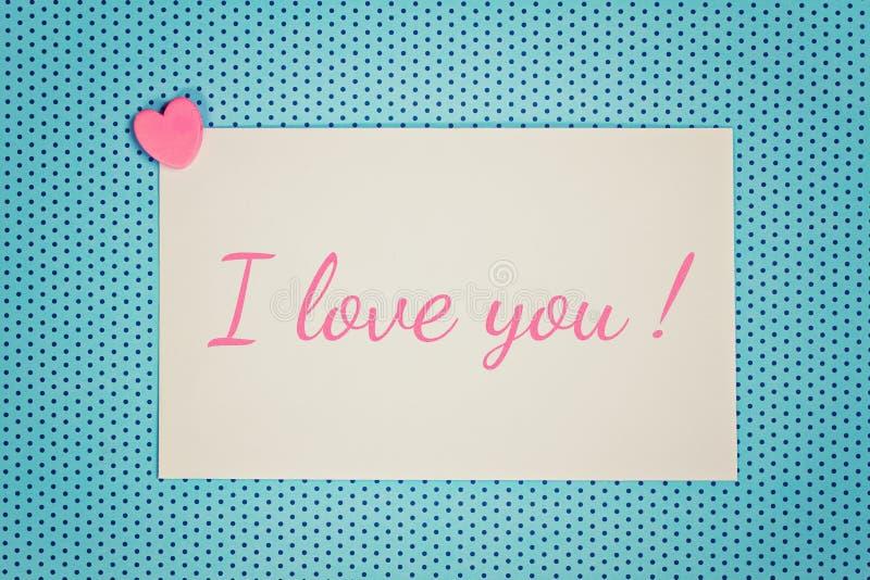 Grußkarte ich liebe dich stockbild