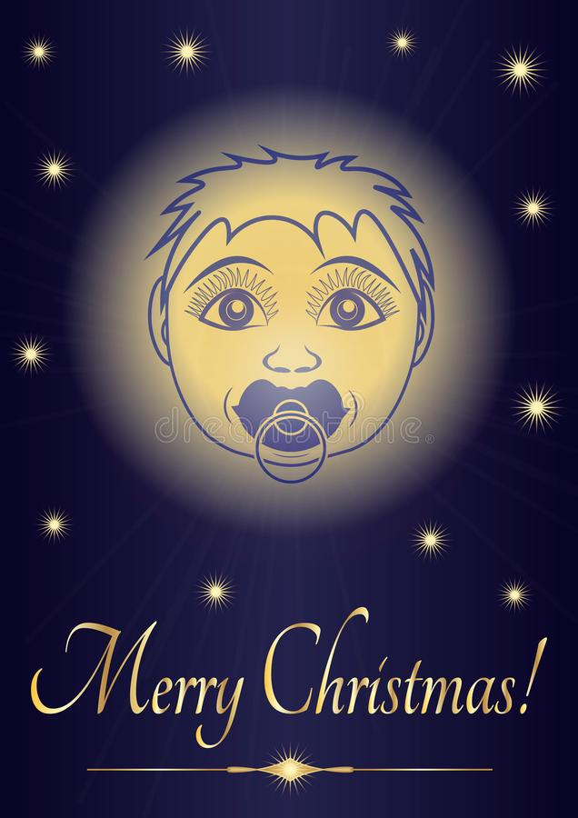 Grußkarte Jesus-Baby froher Weihnachten Gesicht des neugeborenen Heiligen auf dem Hintergrund des sternenklaren Himmels Vektor stock abbildung