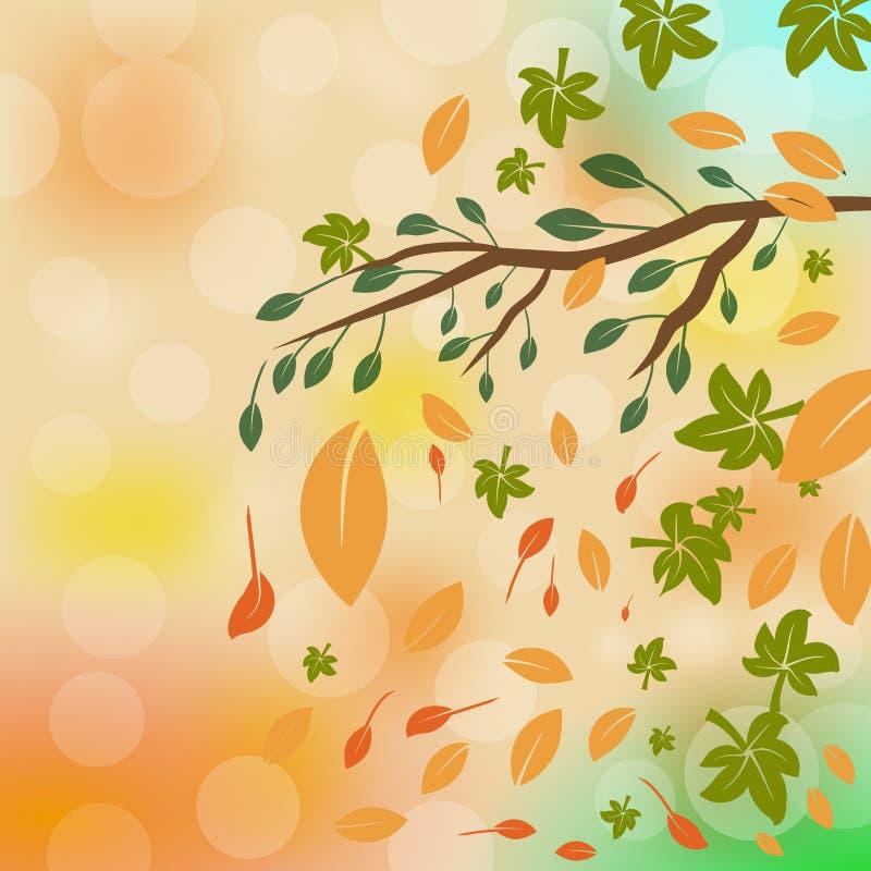 Grußkarte mit Aufschrift Herbst und Hand gezeichnetem Aquarellfall verlässt stock abbildung