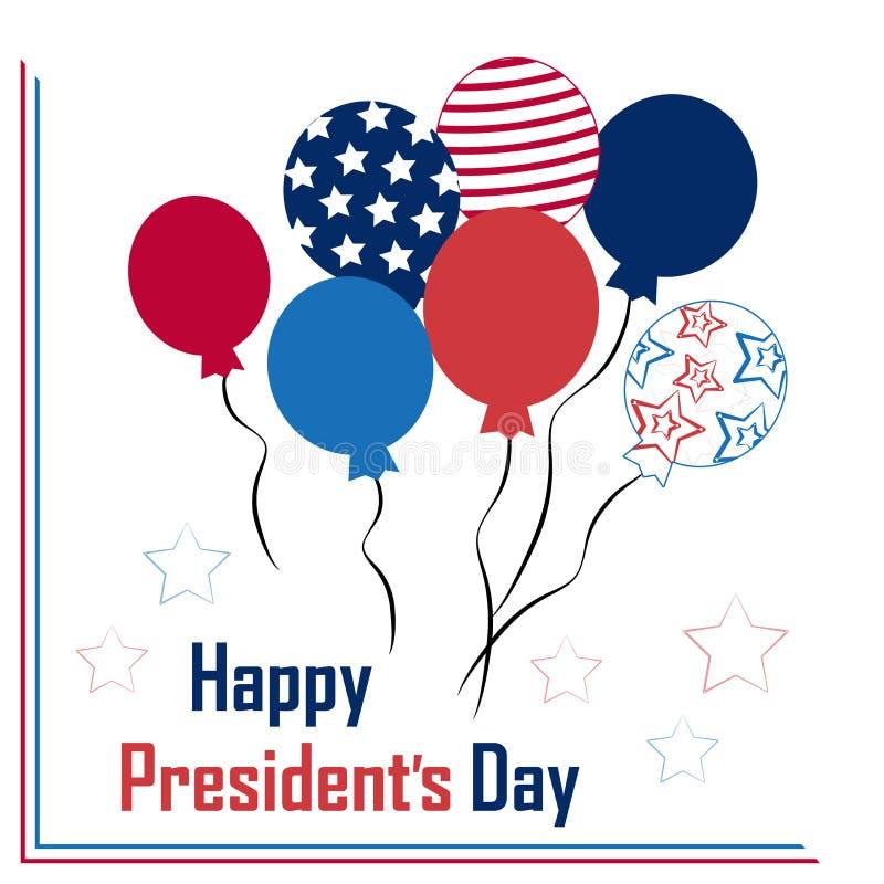 Grußkarte mit Ballonen für Präsidenten Day Auch im corel abgehobenen Betrag vektor abbildung