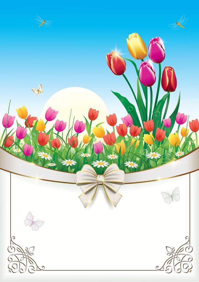 Grußkarte mit Blumen und dekorativem Bogen vektor abbildung