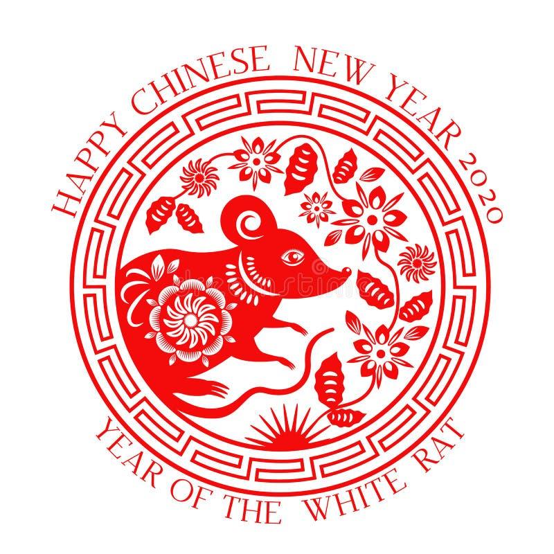 Grußkarte mit chinesischer weißer Ratte des neuen Jahres 2020 auf dem astrologischen Kalender Fa cai der Klingel XI Goldener trad lizenzfreie stockfotos