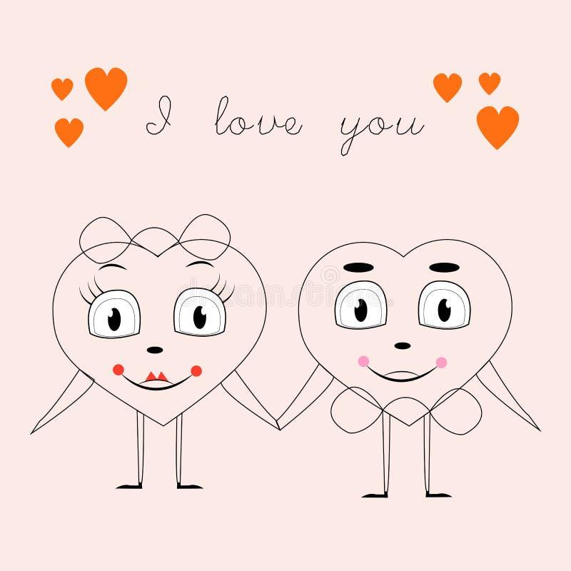 Grußkarte mit dem Bild von zwei Herzen, welche die Hand von, Geburtstag, Valentinsgruß ` s Tag, Liebe, Linie halten lizenzfreie abbildung