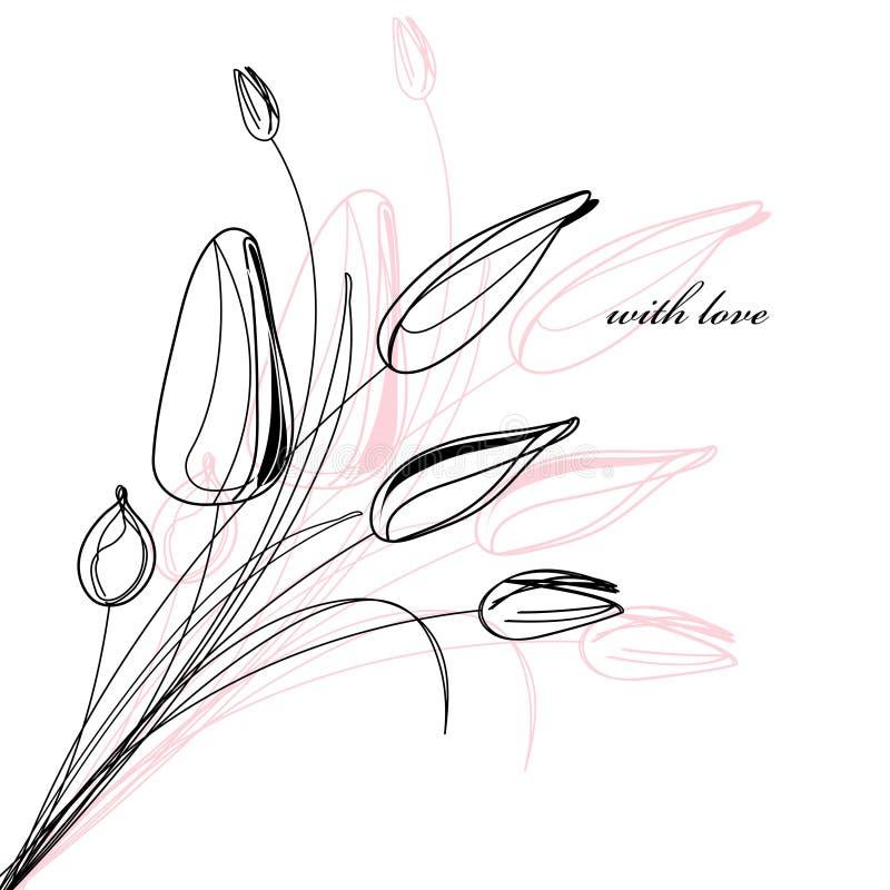 Grußkarte mit einer Skizze der Tulpen lizenzfreie abbildung