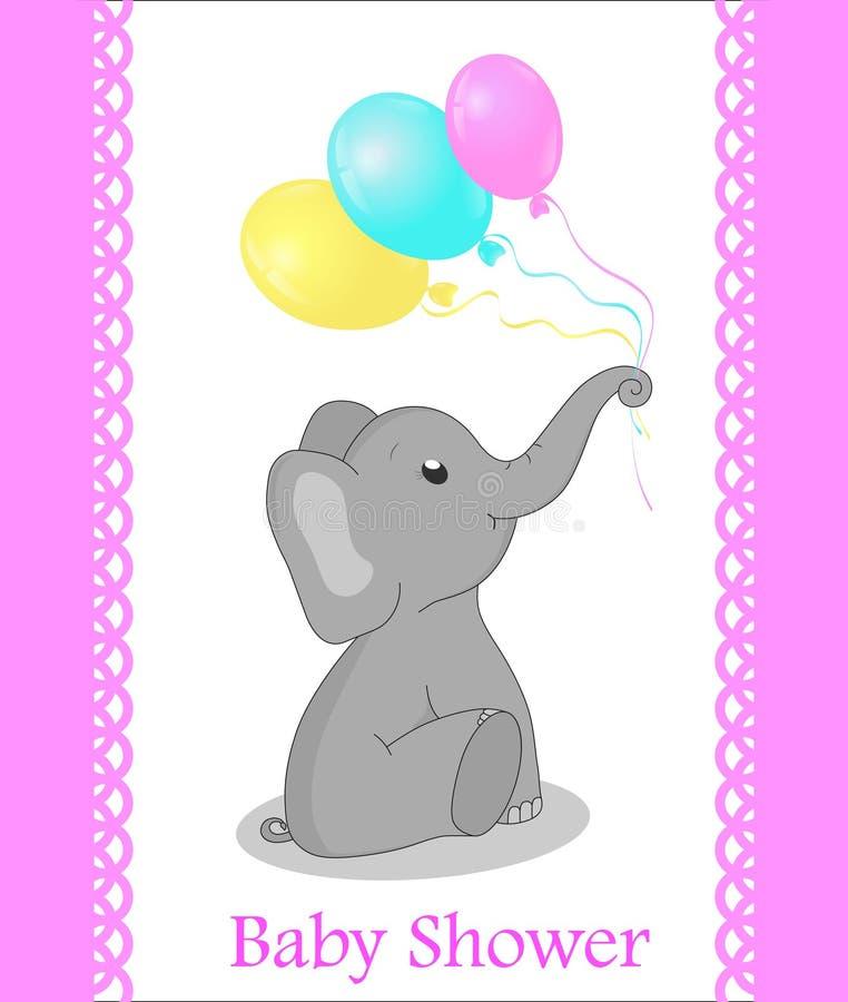 Grußkarte mit Elefanten für ein Mädchen auf Babyparty Rosafarbenes Feld Babypartyeinladungskarte mit grauem Elefanten und Ballone vektor abbildung