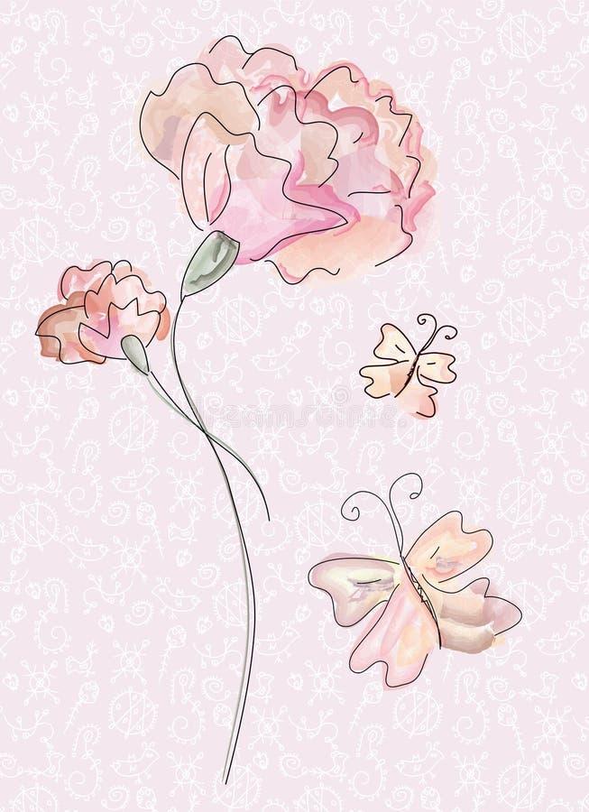 Grußkarte mit Gartennelke stock abbildung