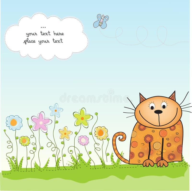 Grußkarte mit Kätzchen lizenzfreie abbildung