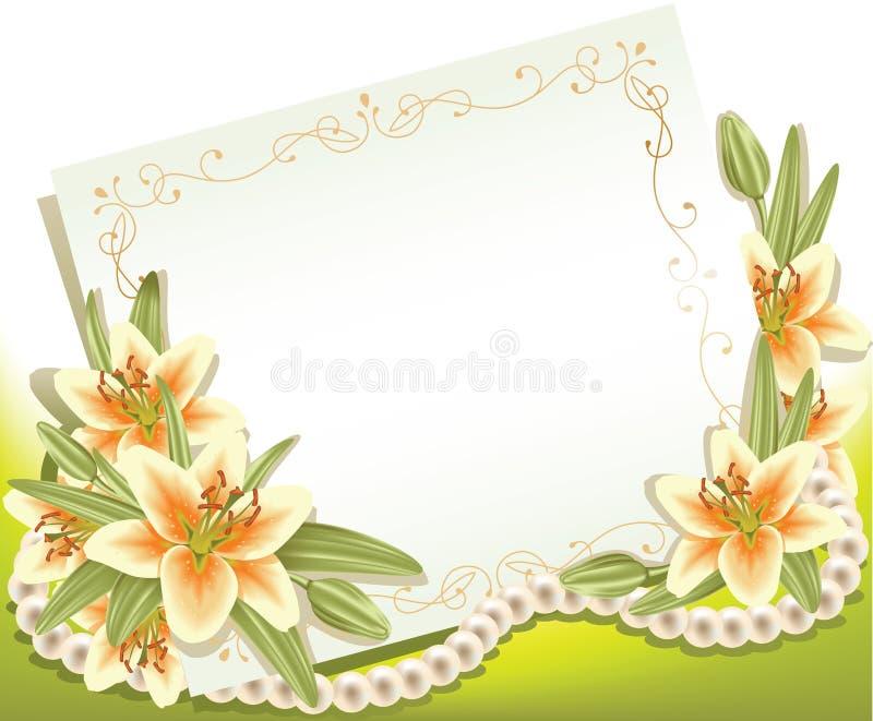 Grußkarte mit Lilien lizenzfreie abbildung
