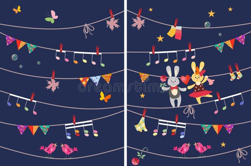 Grußkarte mit netten Tanzenhäschen und -schmetterlinge, Girlande, musikalische Anmerkungen, Vögel und Ahornblätter Vier Schneeflo lizenzfreie abbildung
