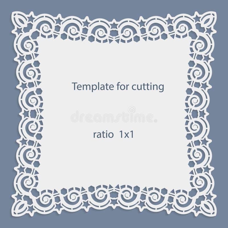 Grußkarte mit openwork Grenze, Papierdoily unter dem Kuchen, Schablone für den Schnitt lizenzfreie abbildung