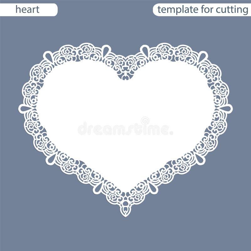 Grußkarte mit openwork Grenze, Papierdoily unter dem Kuchen, Schablone für den Schnitt in Form von Herzen, Valentinsgrußkarte, we lizenzfreie abbildung