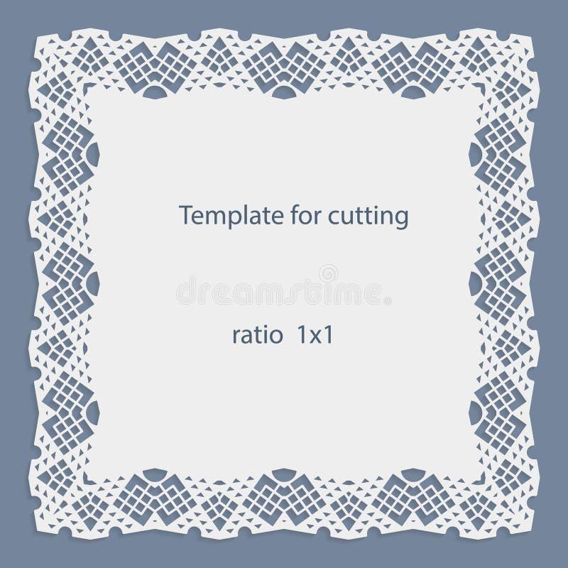 Grußkarte mit openwork Grenze, Papierdoily unter dem Kuchen, Schablone für den Schnitt, Heiratseinladung, dekorative Platte ist l vektor abbildung