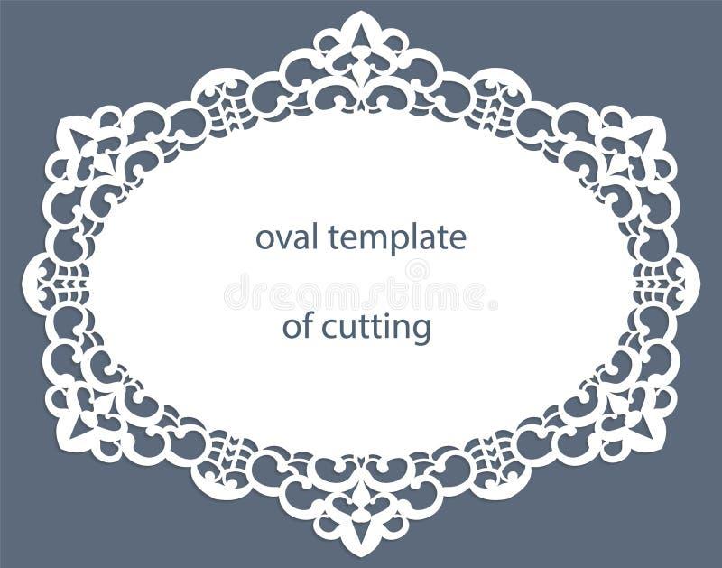Grußkarte mit openwork ovaler Grenze, Papierdoily unter dem Kuchen, Schablone für den Schnitt, Heiratseinladung, dekorative Platt vektor abbildung