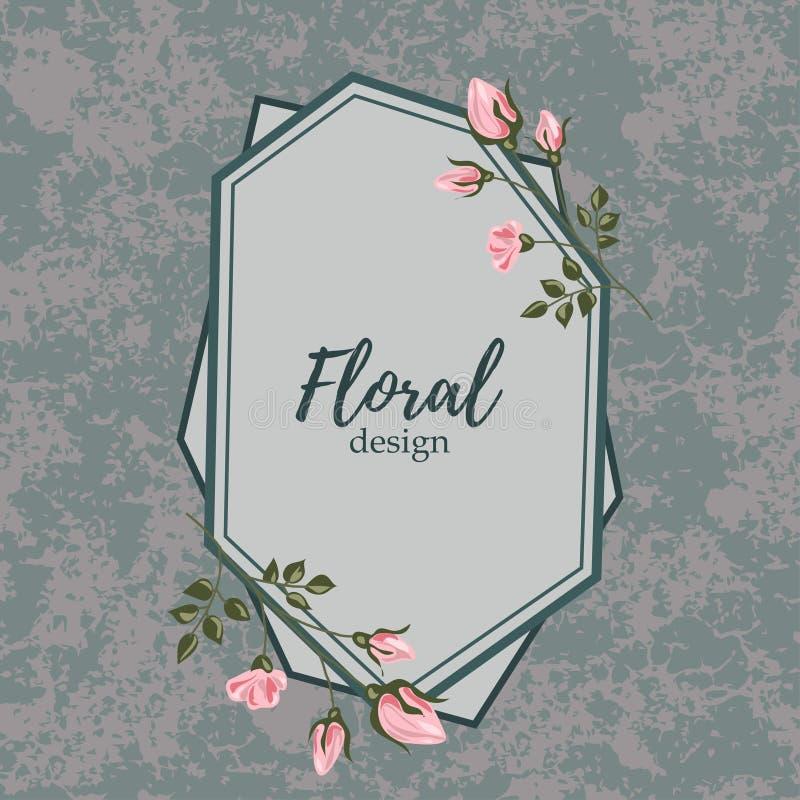 Grußkarte mit Rosen, Aquarell, kann als Einladungskarte für die Heirat, Geburtstag und anderen Feiertag benutzt werden lizenzfreie abbildung