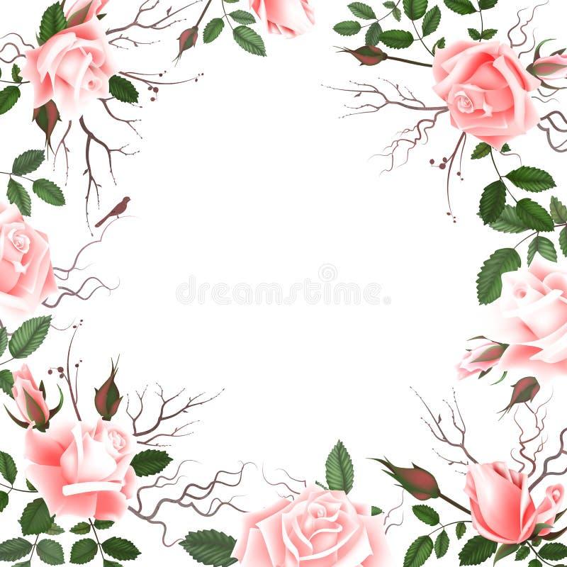 Grußkarte mit Rosen, Aquarell, kann als Einladungskarte für die Heirat, Geburtstag und anderer Feiertag und Sommer benutzt werden stock abbildung