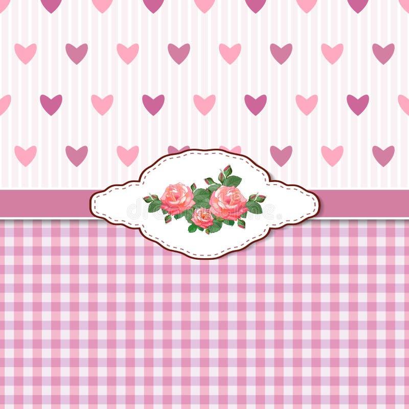 Grußkarte mit Rosen und Inneren lizenzfreie abbildung