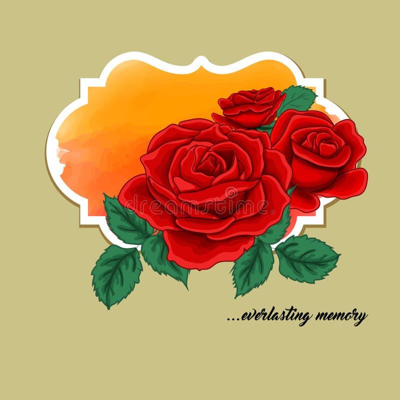 Grußkarte mit roten rozes stock abbildung