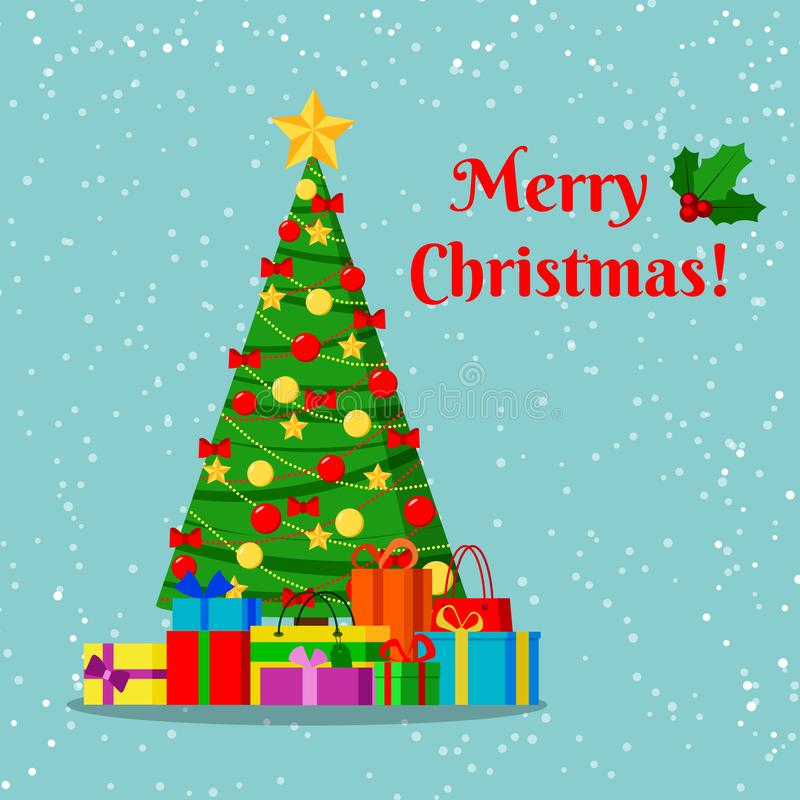 Grußkarte mit verziertem Weihnachtsbaum mit Stern, Dekorationsbälle und Bögen und Geschenke unter dem Baum stock abbildung
