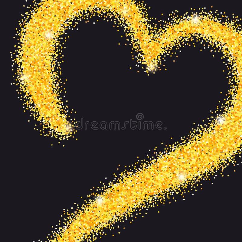 Grußkarte mit von Hand gezeichnetem Herzen und Platz für Text Goldenes Herz vom Sand, stardust mit Funkeln Plakat für lizenzfreie abbildung