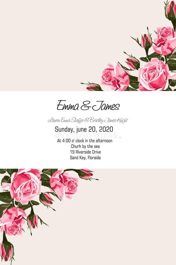 Grußkarte mit zarten rosa Rosen, Aquarellart, kann als Einladungskarte für die Heirat, Geburtstag und anderen Feiertag benutzt we stock abbildung