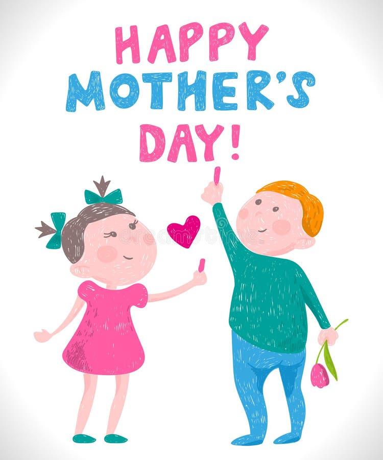Grußkarte Muttertag im Stil der Zeichnungen der Kinder lizenzfreie abbildung
