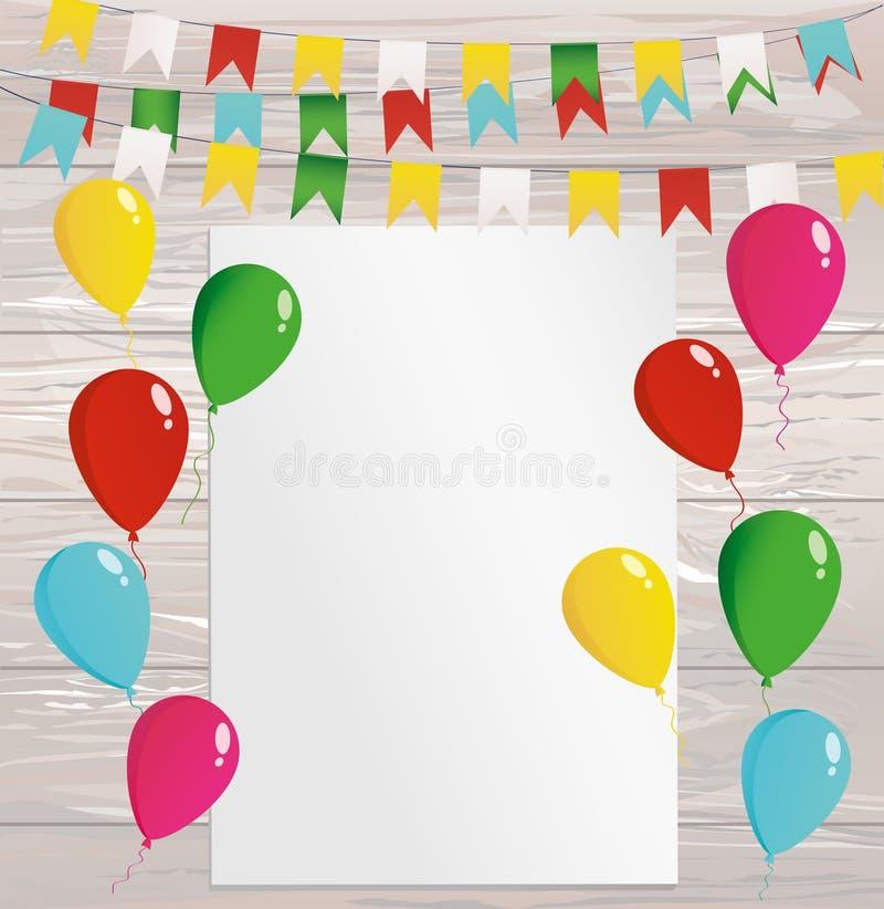 Grußkarte oder -einladung für einen Feiertag Girlande bunten f stock abbildung