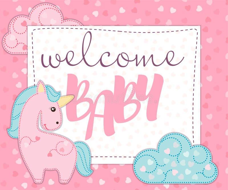 Grußkarte oder -einladung für neugeborene Babyfeier Babypartyeinladungs-Kartenschablone mit nettem Einhorn für Mädchen stock abbildung