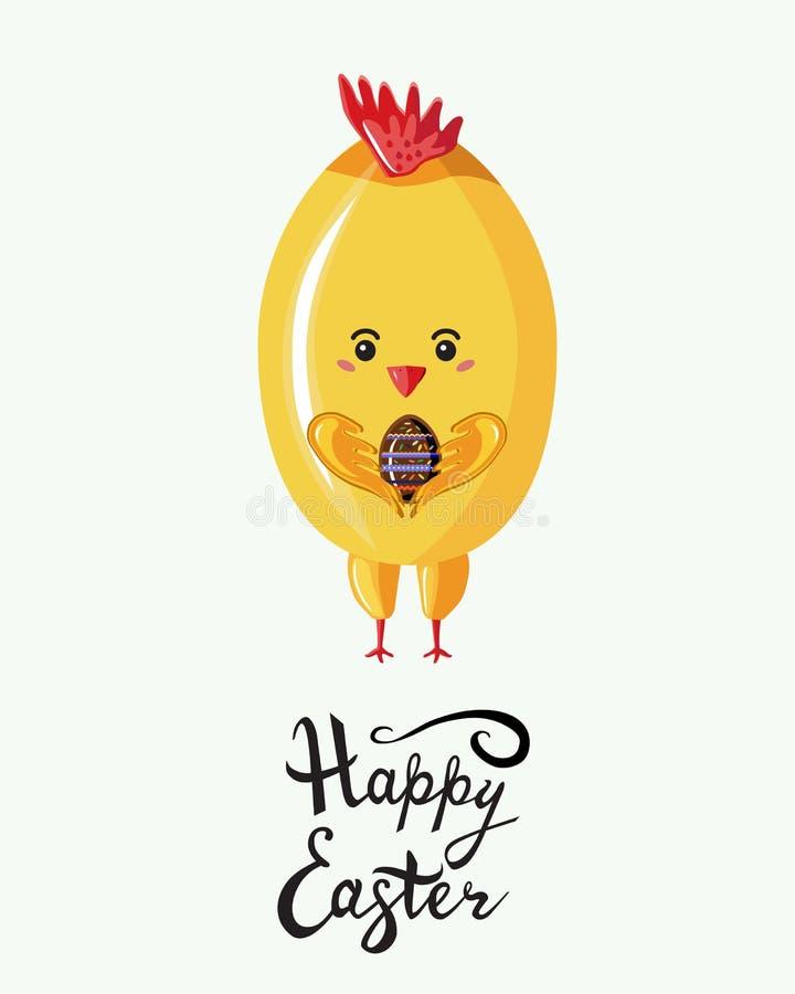 Grußkarte, Plakat mit Huhn in Art kawaii, welches das Ei mit geschriebener beschriftender Phrase fröhliche Ostern hält Lokalis stock abbildung