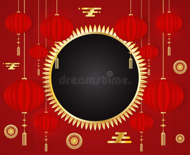 Grußkarte Schablone des Chinesischen Neujahrsfests 2019 rote mit traditionellen asiatischen Dekorations- und Goldelementen auf ro stock abbildung
