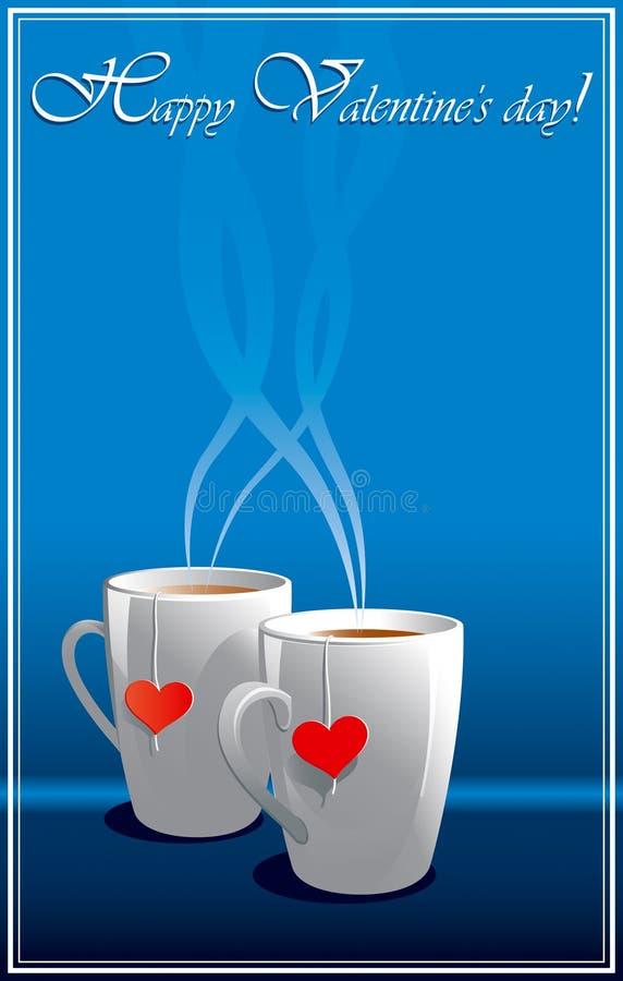 Grußkarten des blauen Valentinsgrußes vektor abbildung