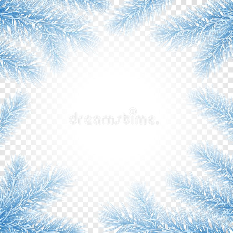 Grußkarten-Hintergrundschablonentannen-Baumastrahmen des Weihnachtsneuen Jahres stock abbildung