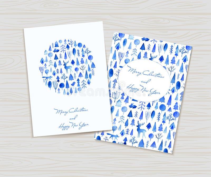 Grußkarten mit Weihnachtsverzierungen Dekoratives Bild einer Flugwesenschwalbe ein Blatt Papier in seinem Schnabel stock abbildung