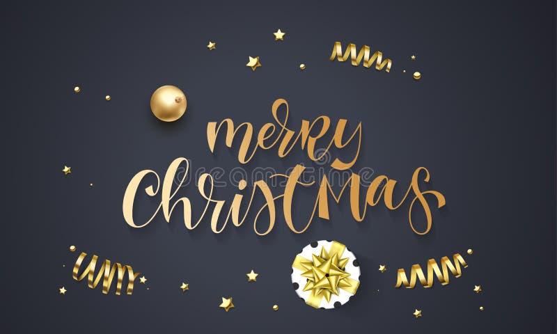 Grußkarten-Schablonenhintergrund der frohen Weihnachten von goldenen Funkelnkonfettis, Geschenkbox mit Goldbandbogen Vektorwinter vektor abbildung