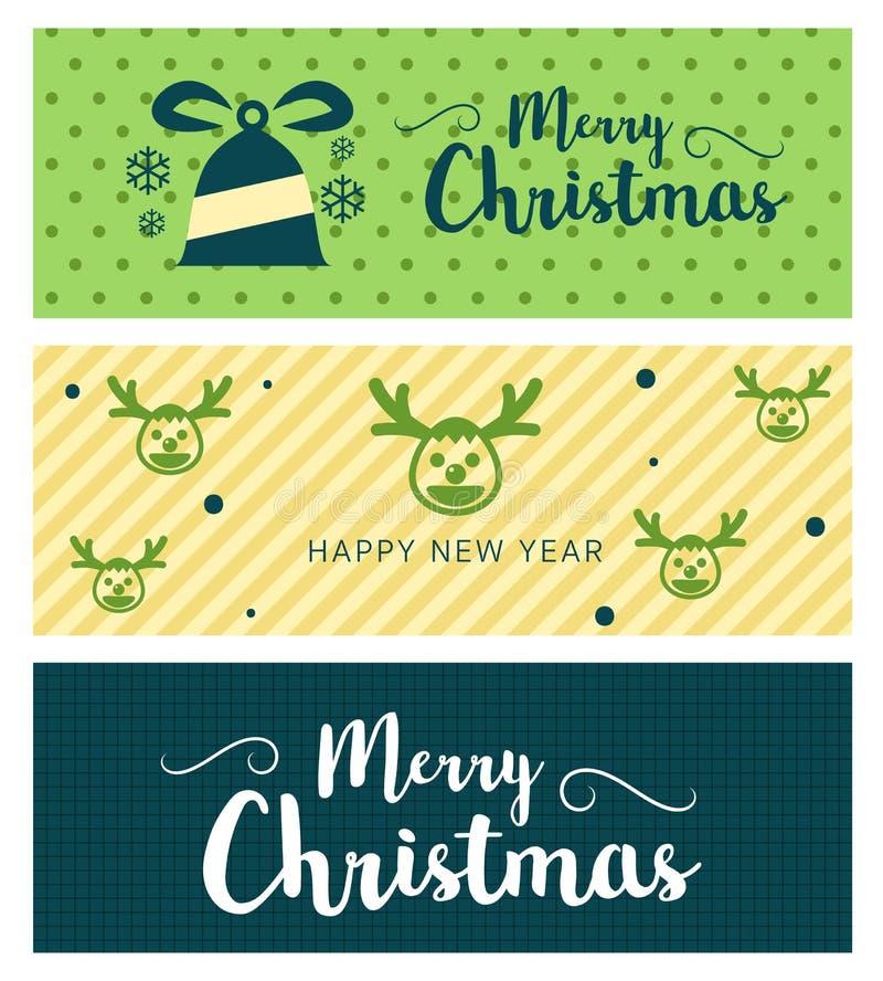 Grußkarten-Typografiefliegerschablone der frohen Weihnachten und des guten Rutsch ins Neue Jahr mit Beschriftung lizenzfreie abbildung