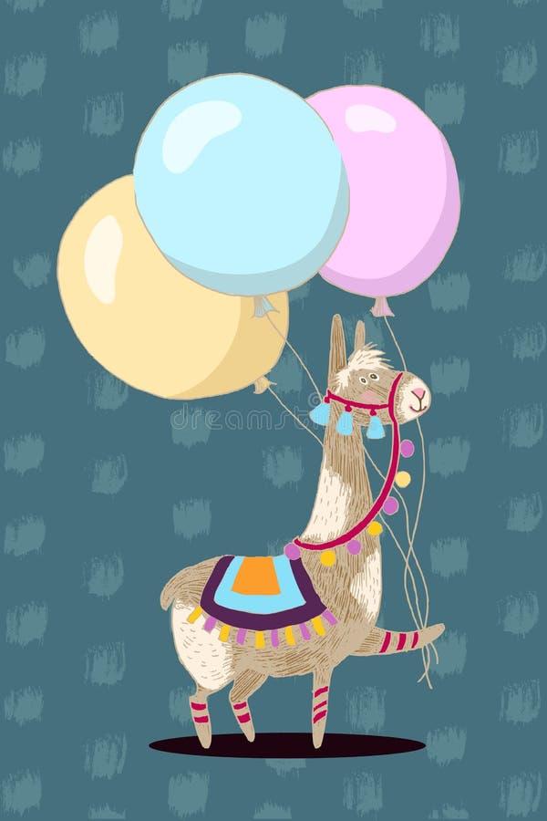 Grußkarten-Vektordesign Nettes Lama mit drei Ballonen Alles- Gute zum Geburtstageinladungsschablone mit lustigem Tier und vektor abbildung