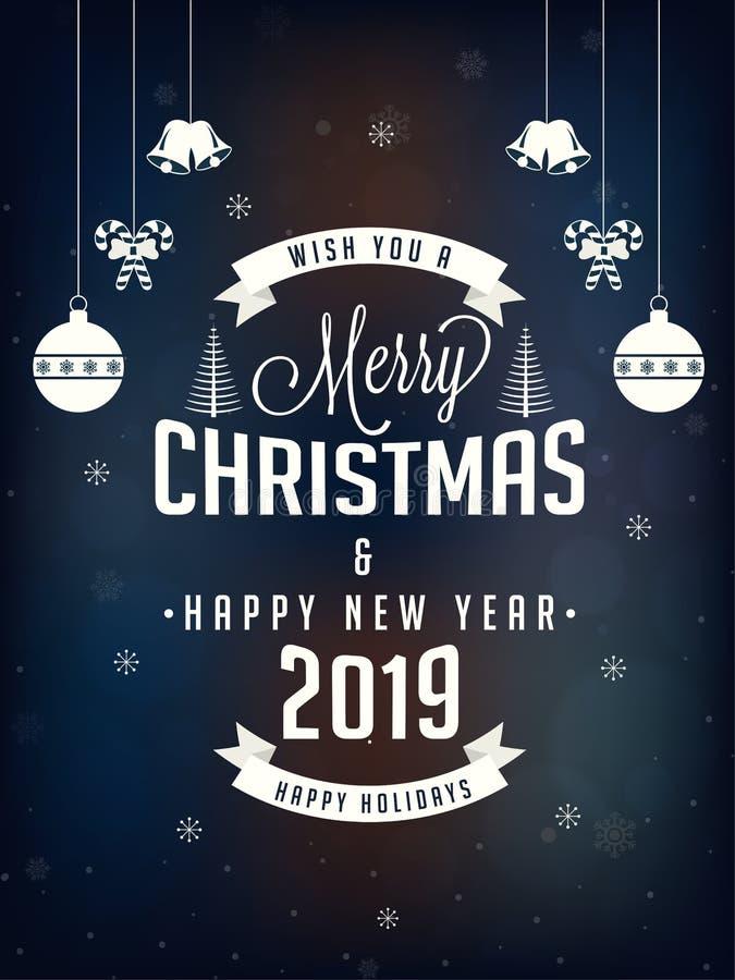 Grußkartendesign der frohen Weihnachten und des guten Rutsch ins Neue Jahr verzieren vektor abbildung