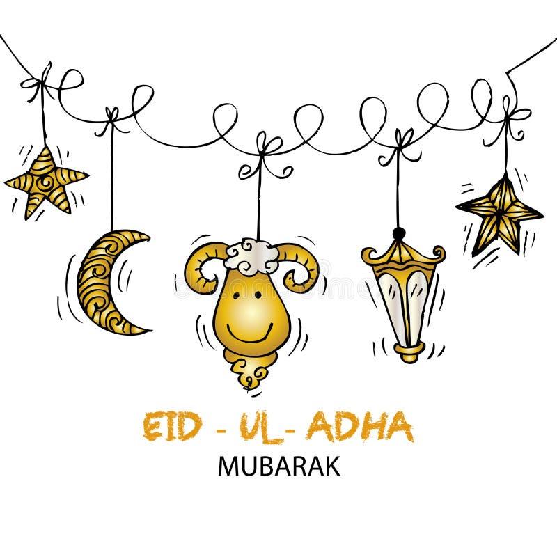 Grußkartendesign für moslemisches Gemeinschaftsfestival Eid-UL-Adha stock abbildung