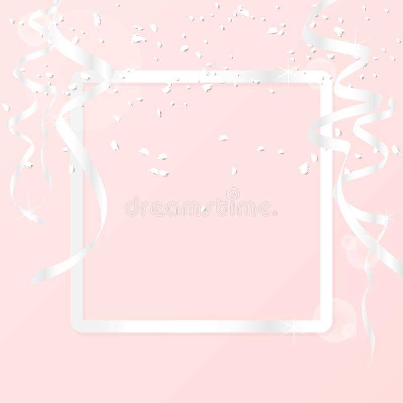 Grußkartenhintergrund mit silbernen der Grenzluxusrahmen und -dekoration mit silbernem Band und Funkeln lokalisiert auf rosa Hint lizenzfreie abbildung